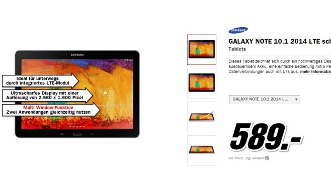 SAMSUNG GALAXY NOTE 10.1 2014 LTE schwarz © Media Markt