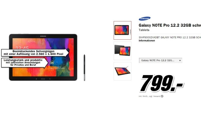Samsung Galaxy Note Pro 12.2 32GB schwarz © Media Markt