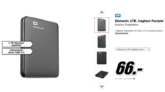 Western Digital Elements Portable 1TB © Media Markt