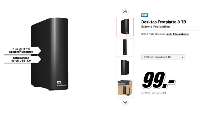 Western Digital My Book Essential USB 3.0 3TB © Media Markt