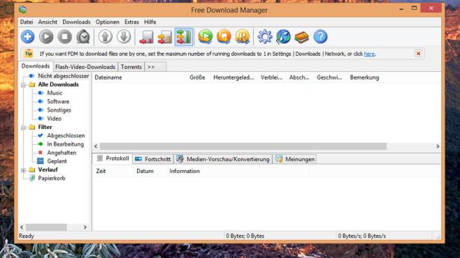 Free Download Manager: Dateien flotter herunterladen ©COMPUTER BILD