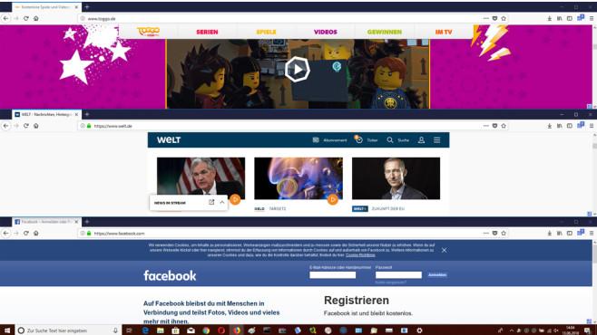 Tile Tabs WE: Webseiten parallel ansehen ©COMPUTER BILD