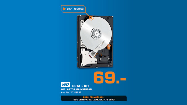 Western Digital SATA Retail Kit 1TB (WDBMYH0010BNC) © Saturn