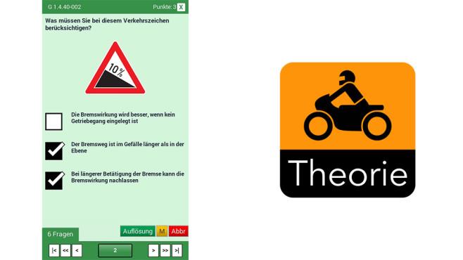 Motorrad-Führerschein Theorie ©theorie24 GmbH