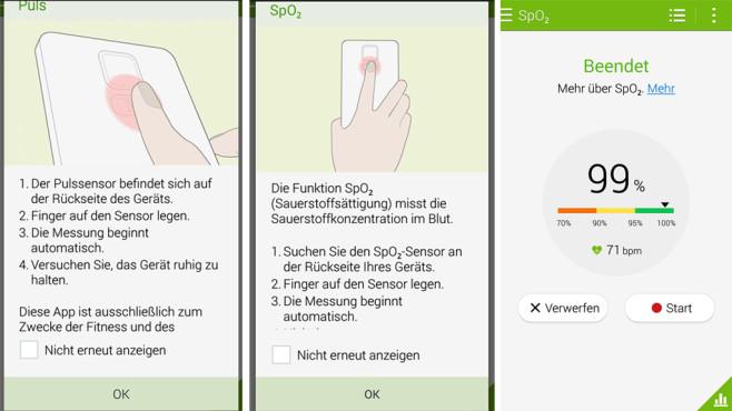 Samsung Galaxy Note 4 Sauerstoffs�ttigung ©COMPUTER BILD
