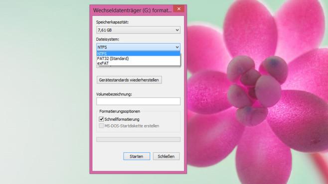 Windows 7/8: Formatiert auch in exFAT ©COMPUTER BILD
