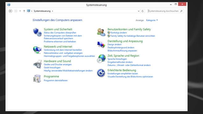 Windows 7/8: Gut geordnete Systemsteuerung mit Suchfunktion ©COMPUTER BILD