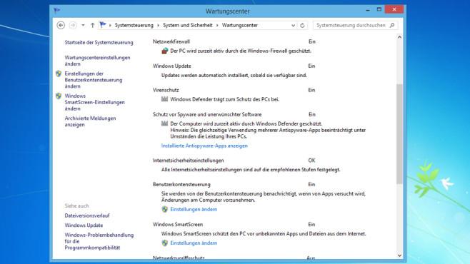 Windows 7/8: Wartungs- statt Sicherheitscenter ©COMPUTER BILD