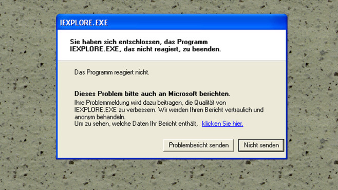 Windows XP: Fehlerberichterstattung nervt ©COMPUTER BILD