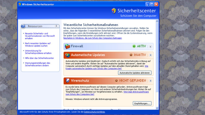 Windows XP: Kein Viren- und Spyware-Schutz ©COMPUTER BILD
