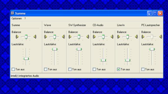 Windows XP: Lautstärke-Fenster ohne Komfort ©COMPUTER BILD