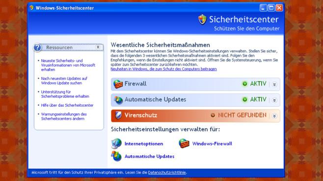 Windows XP: Sicherheitscenter zur Überwachung ©COMPUTER BILD