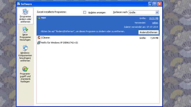 Windows XP: Software-Verwaltung unübersichtlich ©COMPUTER BILD