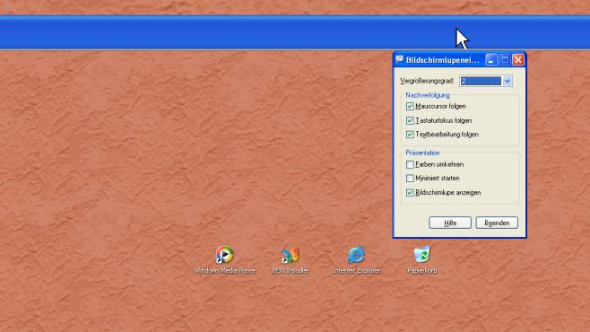 Windows XP: Umständliche Bildschirmlupe ©COMPUTER BILD