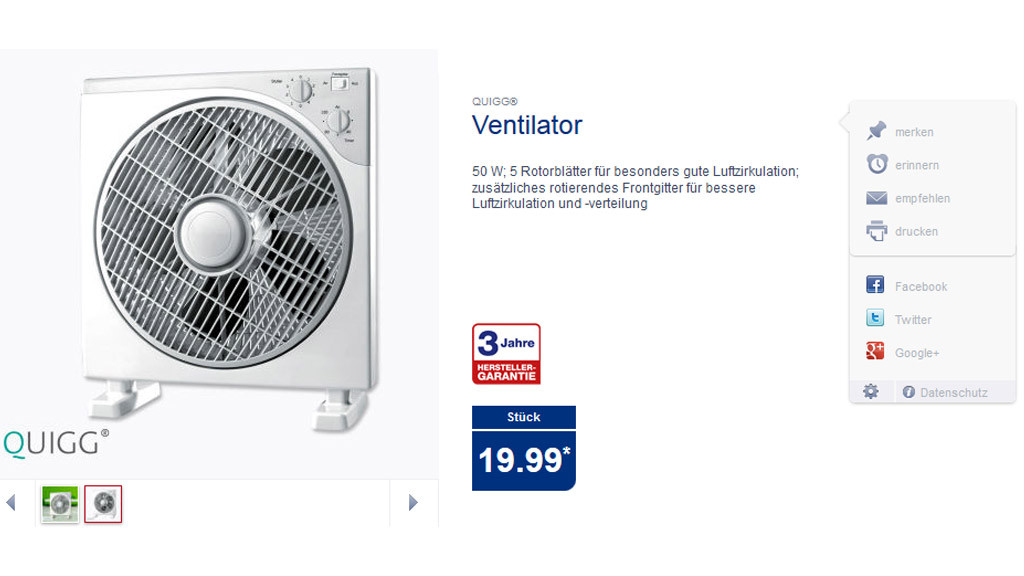 Quigg ventilator 50 watt