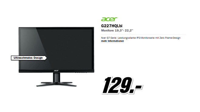 Acer G227HQLbi ©Media Markt