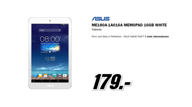 Asus MeMO Pad 8 weiß ©Media Markt