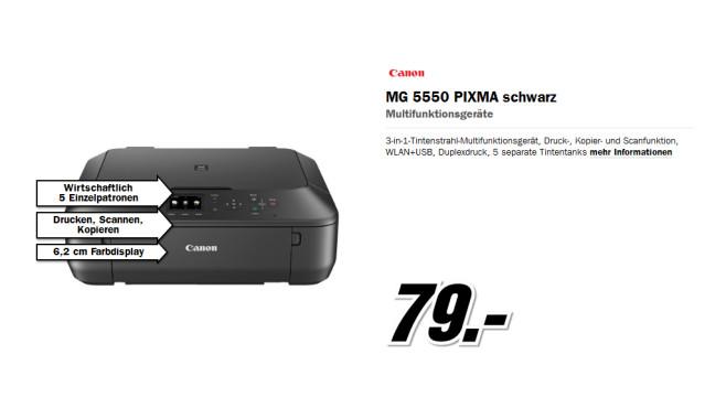 Canon PIXMA MG5550 (schwarz) ©Media Markt