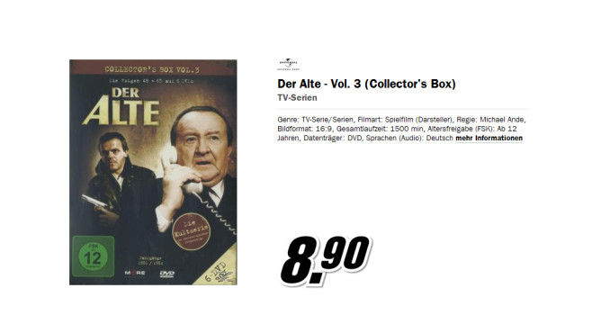 Ein Fall für Zwei Collector's Box 1 (Folge 1-12) DVD ©Media Markt