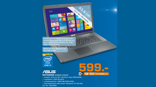 Asus Notebook R752LD-TY047H © Saturn