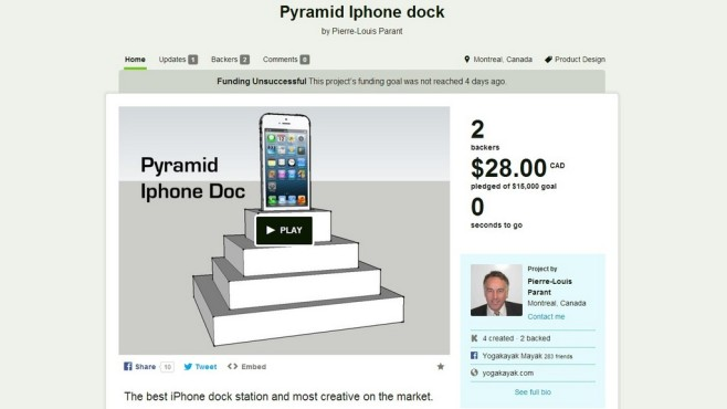 Pyramid Iphone dock: Pyramidendock © Kickstarter