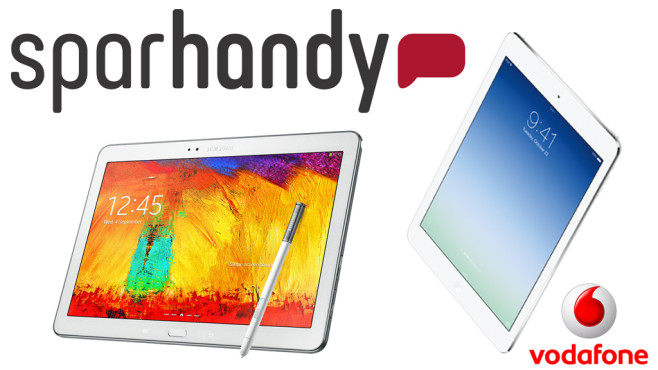 Galaxy Note 10.1 oder iPad Air: Mit LTE-Flatrate zum Schn�ppchenpreis ©Sparhandy.de, Vodafone, Apple, Samsung