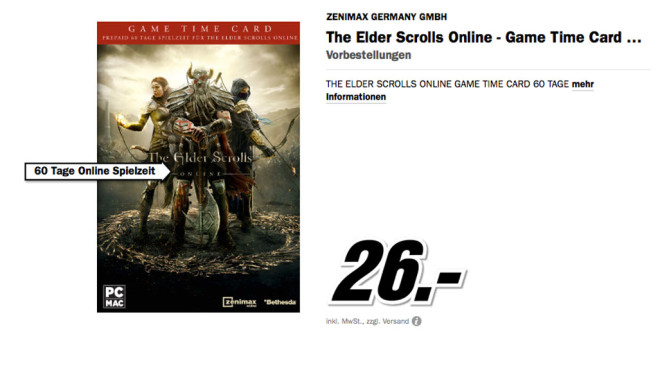 Bethesda The Elder Scrolls Online: Game Time Card © Media Markt