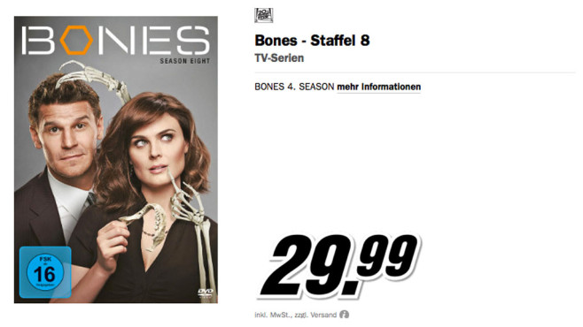 Bones - Season Eight [6 DVDs] © Media Markt