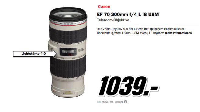 Canon EF 70-200mm f4.0 L IS USM © Media Markt