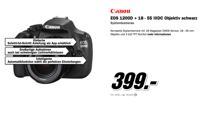 Canon EOS 1200D + 18-55mm IIIDC © Media Markt