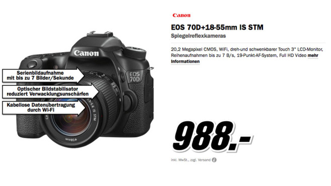 EOS 70D Kit 18-55 mm [Canon IS STM] © Media Markt
