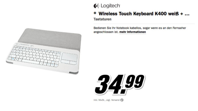 Logitech Wireless Touch Keyboard K400 © Media Markt