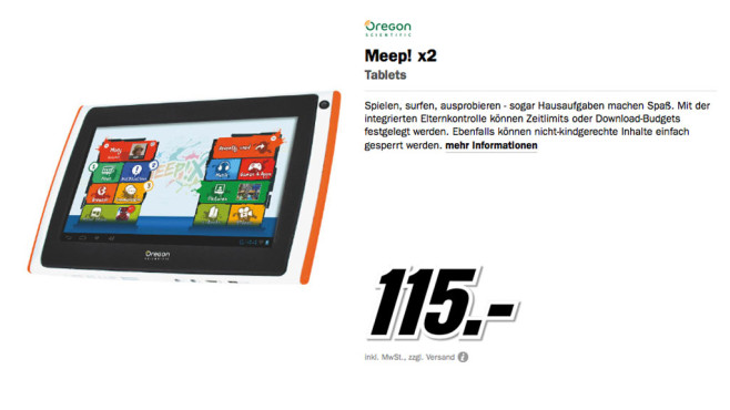 Oregon Scientific Meep! X2 Tablet © Media Markt