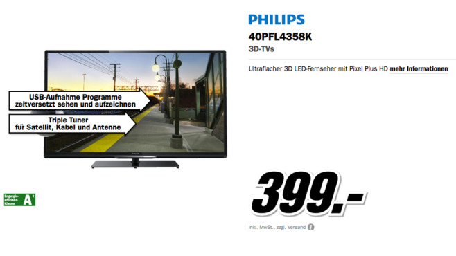 Philips 40PFL4358K © Media Markt
