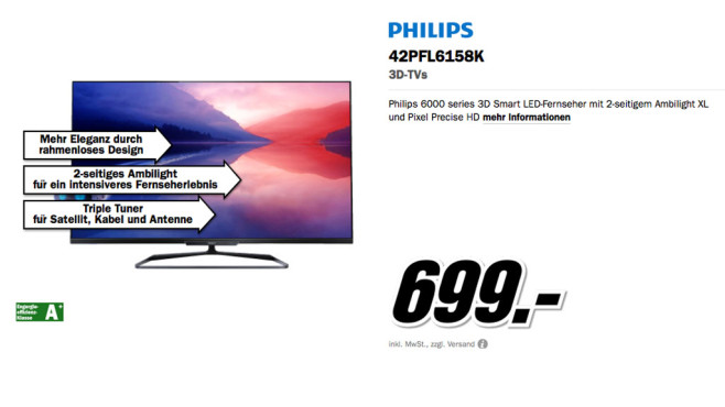Philips 42PFL6158K © Media Markt