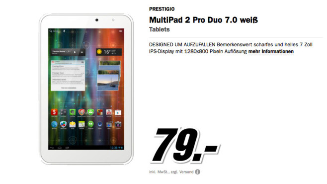 Prestigo MultiPad 2 Pro Duo 7.0 © Media Markt