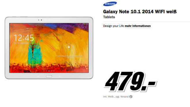 Samsung Galaxy Note 10.1 16GB WiFi (2014 Edition) © Media Markt
