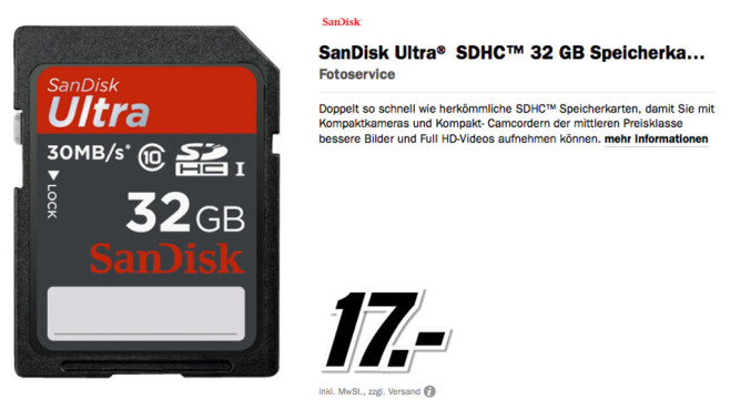 Sandisk Ultra SDHC 32GB Class 10 UHS-I ©Media Markt