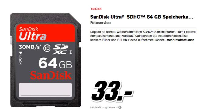 Sandisk Ultra SDHC 64GB Class 10 ©Media Markt