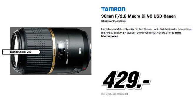 Tamron SP 90mm f2.8 Di VC USD Macro [Canon] © Media Markt