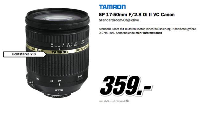 Tamron SP AF 17-50mm f2.8 XR Di II VC LD IF für Canon ©Media Markt