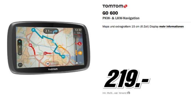 TomTom GO 600 Europa mit TMC ©Media Markt