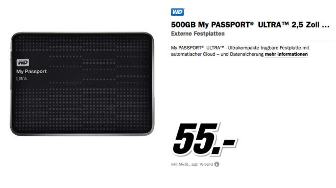 Western Digital My Passport Ultra 500GB © Media Markt