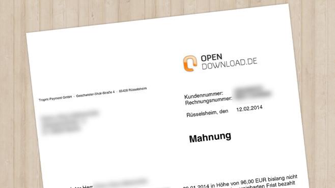 Abmahnung von Opendownload.de ©COMPUTER BILD