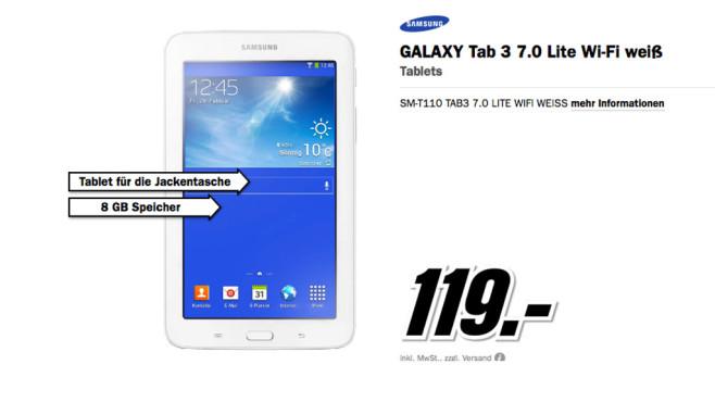 GALAXY Tab 3 7.0 Lite Wi-Fi weiß ©Media Markt
