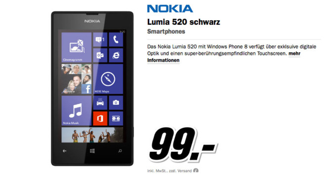 Nokia Lumia 520 ©Media Markt