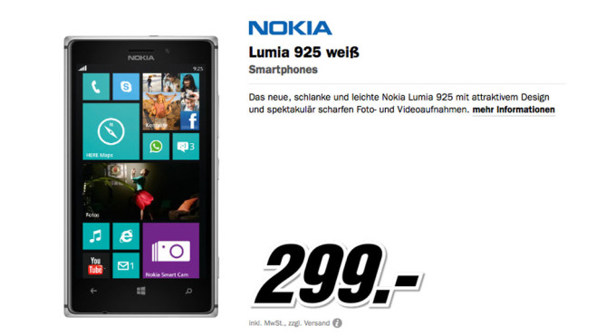Nokia Lumia 925 ©Media Markt
