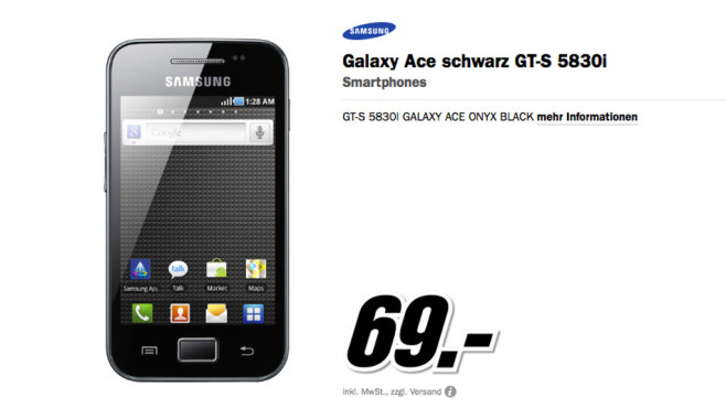 Samsung Galaxy Ace S5830i © Media Markt