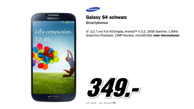 Samsung Galaxy S4 © Media Markt