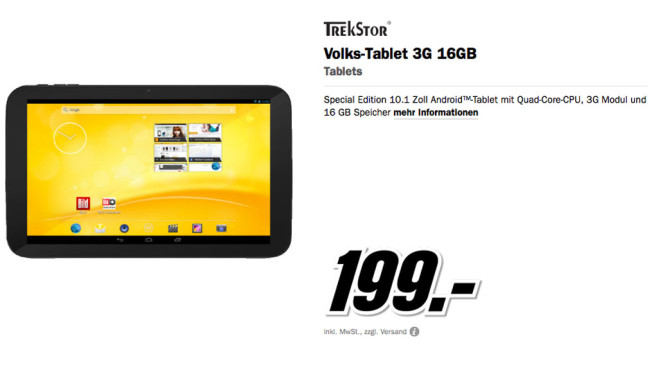 TrekStor Volks-Tablet 3G 16GB © Media Markt